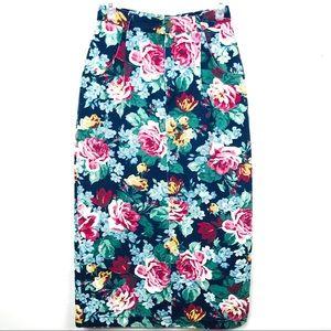 🌿VINTAGE Floral Print Pencil Skirt Sz 5/6
